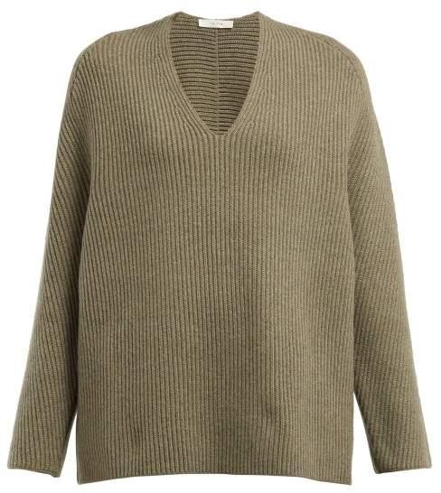 Angela V Neck Wool Blend Sweater - Womens - Light Green