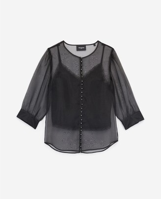 The Kooples See-through black rock-style top w/camisole