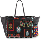 Valentino Rockstud Rolling Medium Beaded-Patch Tote Bag, Black/Multi