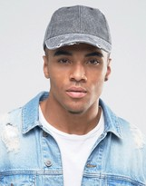 Asos Distressed Baseball Cap In Black