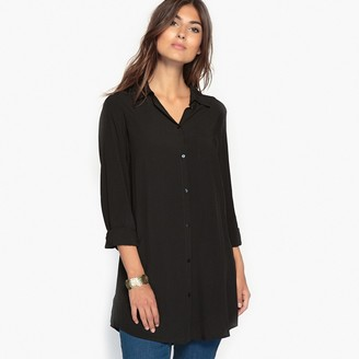 Anne Weyburn Plain Draping Tunic with Long Sleeves and Pocket