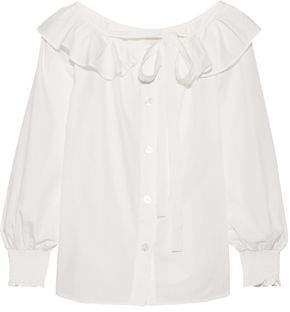 Marc Jacobs (マーク ジェイコブス) - Marc Jacobs Ruffle-Trimmed Cotton-Poplin Top