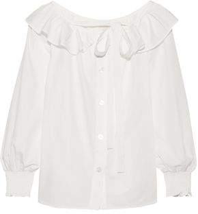 Marc Jacobs (マーク ジェイコブス) - Marc Jacobs Ruffle-trimmed Cotton-poplin Top