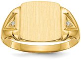 jewelryPot 14k 0.022ct Yellow Gold Engravable Men Diamond Signet Ring (Color , Clarity SI2-I1)