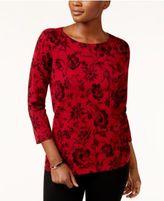 Karen Scott Printed Sweater, Created for Macy's