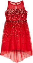 Crystal Doll High-Low Illusion-Neck Sequin Dress, Big Girls