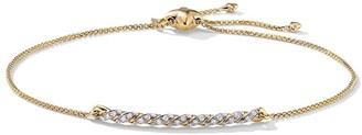 David Yurman 18kt yellow gold diamond Petite Paveflex Station bracelet
