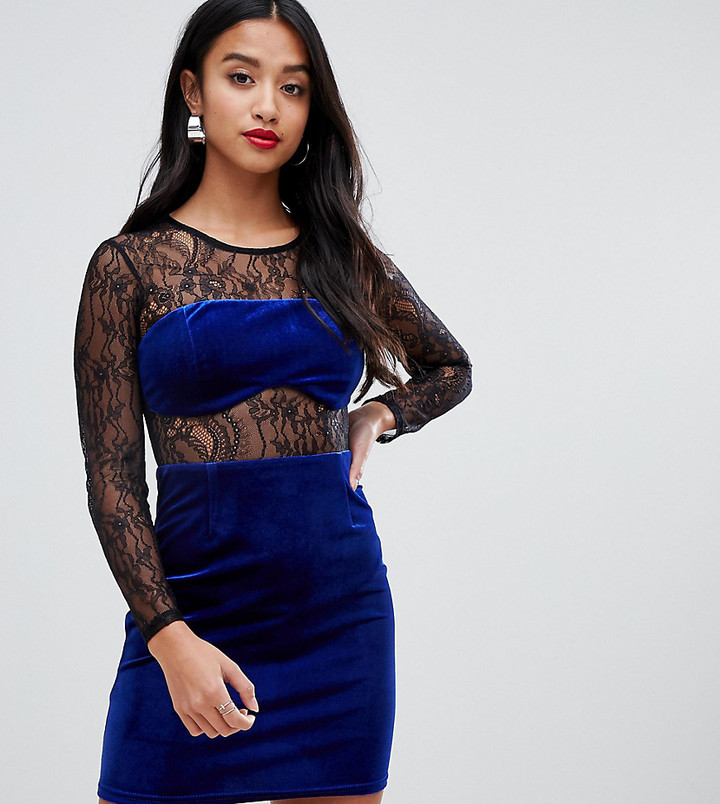 ASOS DESIGN Petite lace and velvet mix mini dress