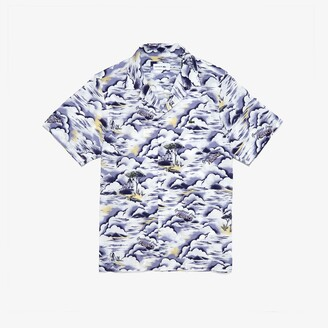 Lacoste Men's Southern France Print Cotton Hawaiian Fit Shirt