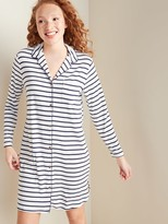 Old Navy Long-Sleeve Jersey Piped-Trim Night Shirt for Women