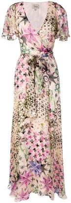 Temperley London Geometric Floral Wrap Dress