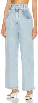 Alessandra Rich High Waisted Wide Leg Jean in Light Blue | FWRD