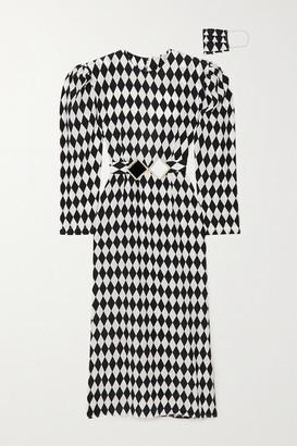 ROWEN ROSE Belted Open-back Printed Silk Crepe De Chine Midi Dress - Black