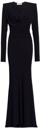 Alexandre Vauthier Gathered Cowlneck Crepe Gown