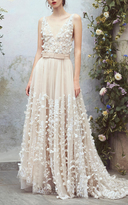 Luisa Beccaria Organdy Floral Embroidered Ball Gown