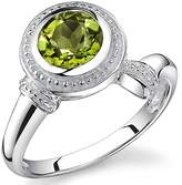 Peora 1.50 Carats Round Cut Peridot Ring in Sterling Silver Rhodium Nickel Finish size 5