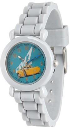 Disney Cars 3 Cruz Ramirez Boys' Grey Plastic Time Teacher Watch, Grey Silicone Strap