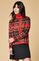 MinkPink Gifted Shimmery Plaid Turtleneck Sweater