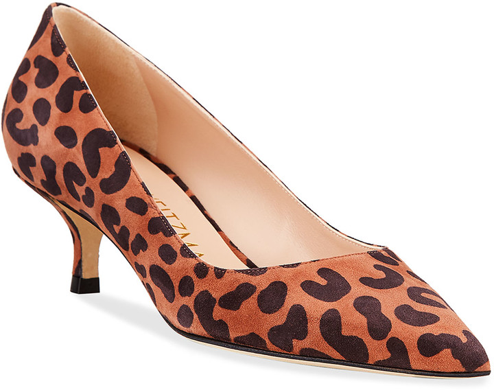 leopard print kitten heel pumps
