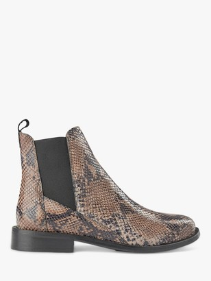 Shoe The Bear Finna Leather Snake Print Chelsea Boots, Taupe