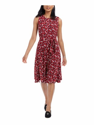 Charter Club Womens Red Pleated Floral Sleeveless Jewel Neck Below The Knee Fit + Flare Dress Petites Size: PL