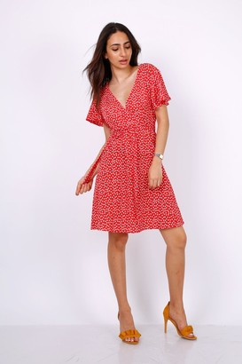 Lilura London Summer Red Daisy Dot Wrap Front Mini Dress