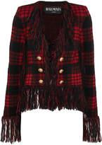 Balmain Fringed Tartan Jacquard-knit Blazer - Red