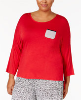 Ellen Tracy Plus Size Contrast-Trimmed Pajama Top