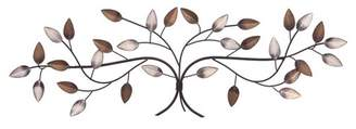 """Patton Wall Decor 11""""x32"""" Bronze Tree Branch with Gold and Silver Leaves Metal Wall Decor Gold"""