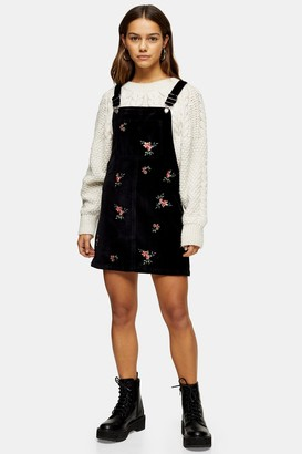 Topshop Womens Petite Velvet Embroidered Pinafore Dress - Black