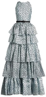 Rasario Polka-Dot Organza Gown
