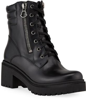 Moncler Viviane Block-Heel Leather Boots w/ Side Zip