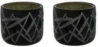 "Aspen Creative Corporation Aspen Creative Black Glass Votive Candle Holder 3-1/2"" Diameter x 3-1/4"" Height, 2 Pack"