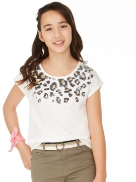 Epic Threads Big Girls Leopard-Print-Border T-Shirt, Created for Macy's