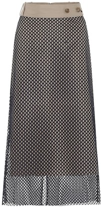 Rokh High-rise mesh and cotton midi skirt