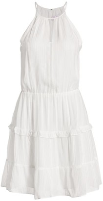 Parker Bruna Lace Eyelet-Trim Halter Mini A-Line Dress