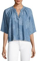 Joe's Jeans Kailani Palm-Print Chambray Top, Indigo