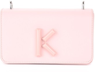 Kenzo Kandy Shoulder Bag In Pink Leather With Front K