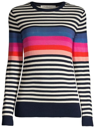 Trina Turk Jet Set Jungle Colette Stripe Knit Wool Sweater