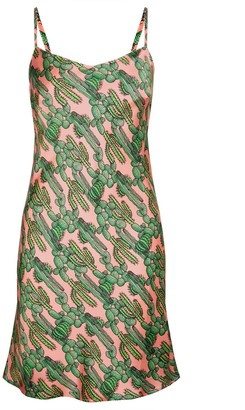 Phoebe Grace Silke Midi Slip Dress in Pink Cactus Print