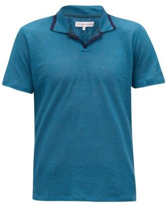 Orlebar Brown Felix Tipped-collar Linen-pique Polo Shirt - Mens - Blue