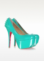 Betsey Johnson Ginger Aqua Patent Leather Platform Pumps