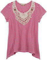 Speechless Short-Sleeve Ribbed Crochet Lace Sharkbite Top - Girls 7-16