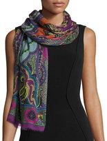 Etro Dehli Multipattern Wool & Silk Scarf, Fuchsia