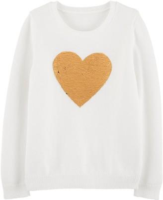 Osh Kosh Girls 4-14 Flip Sequin Heart Sweater