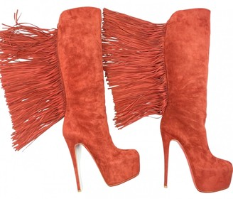 Christian Louboutin Red Suede Boots
