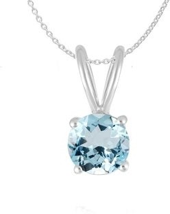 "V3 Jewelry Set of Sterling Silver Pendant and Earring in Round Shape Natural Aquamarine with 18"" Chain for Women"