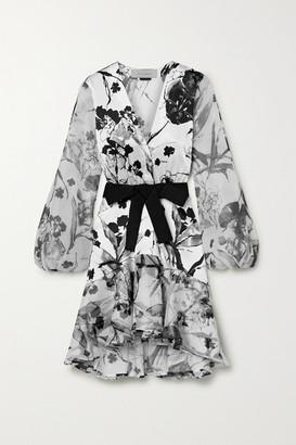 Silvia Tcherassi Galena Floral-print Silk-blend Satin And Organza Dress - White