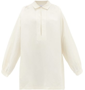 Raey Balloon-sleeve Linen And Silk-blend Smock Dress - Ivory