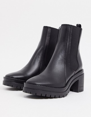 Schuh Encourage leather mid heeled calf boots in black